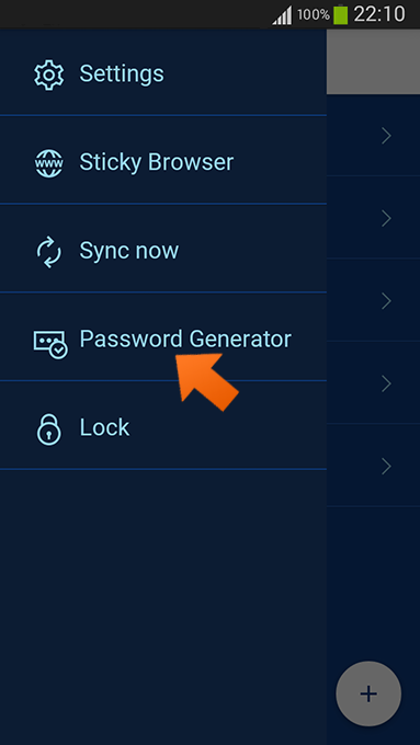 Creating strong passwords with our password generator on Android - tap password generator.