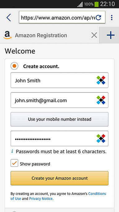 Creating strong passwords with our password generator on Android - Sticky Password will create strong password for you.