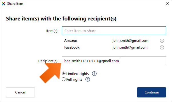 Secure password sharing - enter a recipient.