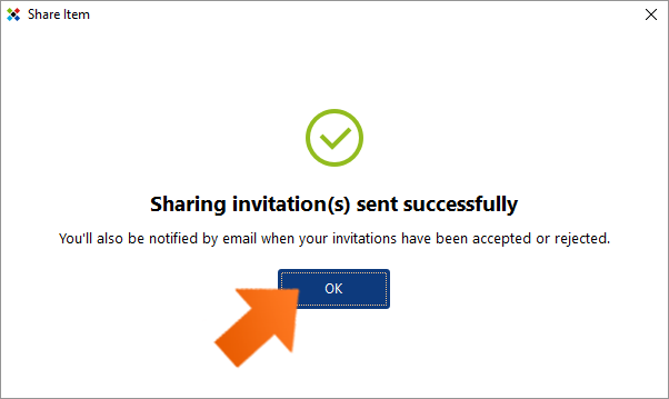 Secure password sharing - invitations has been sent.
